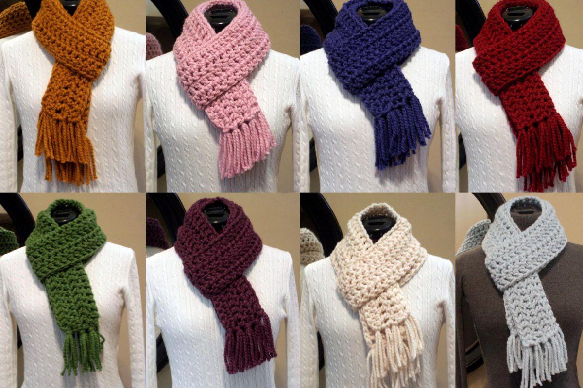 wool blend crochet scarf easy