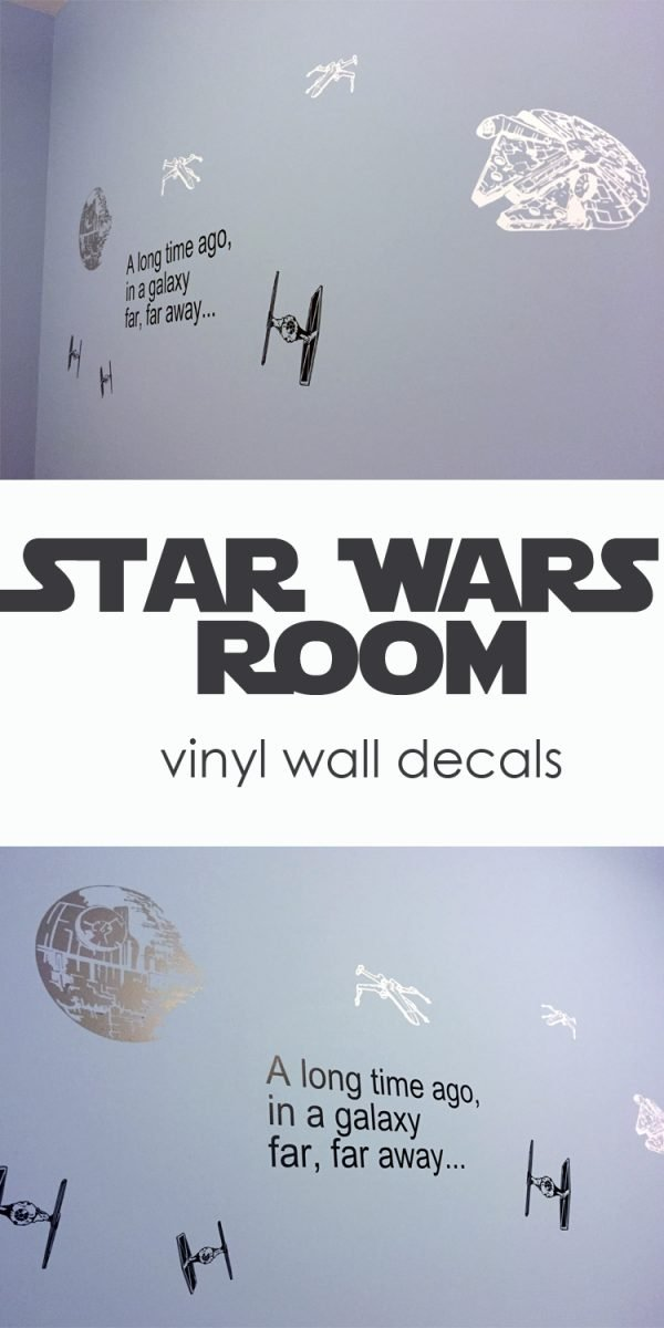 ideas for Vinyl Wall decals for a Star Wars room - tie fighters, death star, millenium falcon
