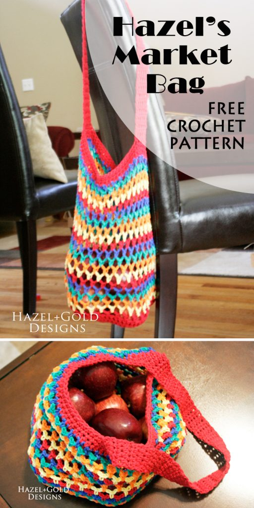 This market bag crochet pattern is a great one for beginner and experienced crocheters alike. Get the pattern FREE at HazelandGoldDesigns.com!