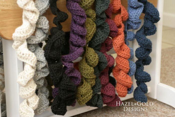 crochet ruffle scarf color options