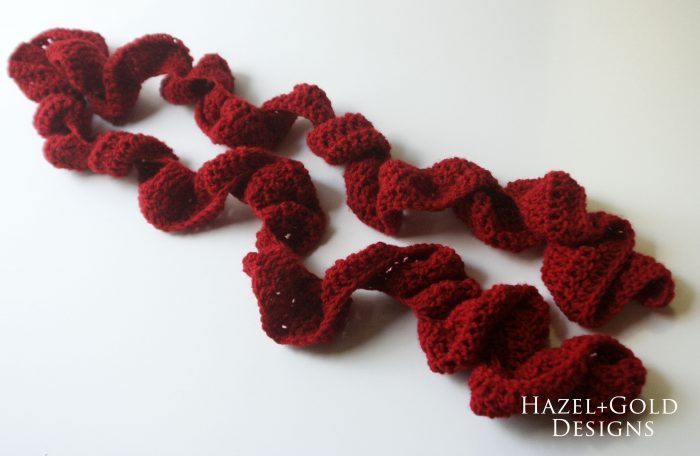 crochet ruffle scarf red