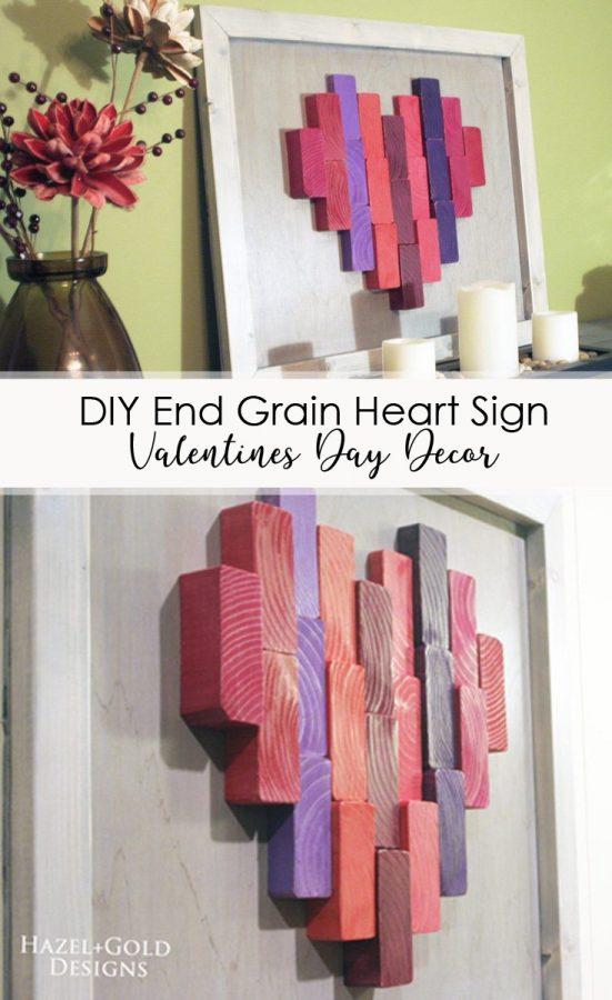 DIY End Grain Heart Valentines Day Decor Pinterest Image