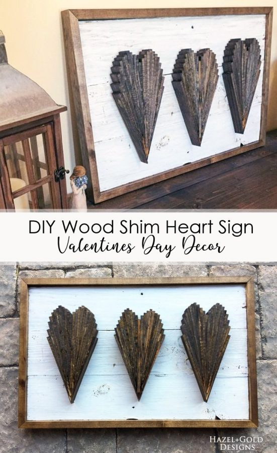 Have a bunch of extra wood shims in your shop? Use them (or buy them cheap!) to make this beautiful DIY Wood Shim Wall Art for Valentines Day Decor. It's a quick and easy project and looks so great! #diy #diywoodworking #woodworking #woodenart #wallart #woodenwallart #valentinesday #valentinesdaydecor #heartart