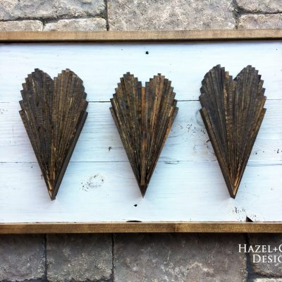 DIY Wood Shim Hearts wall art