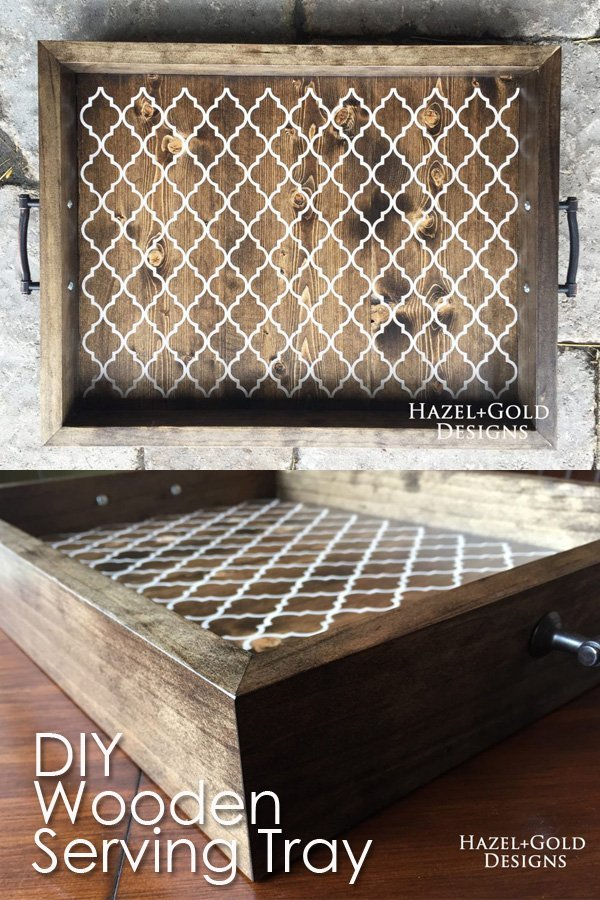 DIY Wood Serving Tray - Find out how I made this gorgeous DIY wood serving tray with a pattern! Full tutorial! #woodtray #woodendecor #homedecor #servingtray #diytray #diyproject #beginnerwoodworking #woodworkingproject #woodworking #freeplans