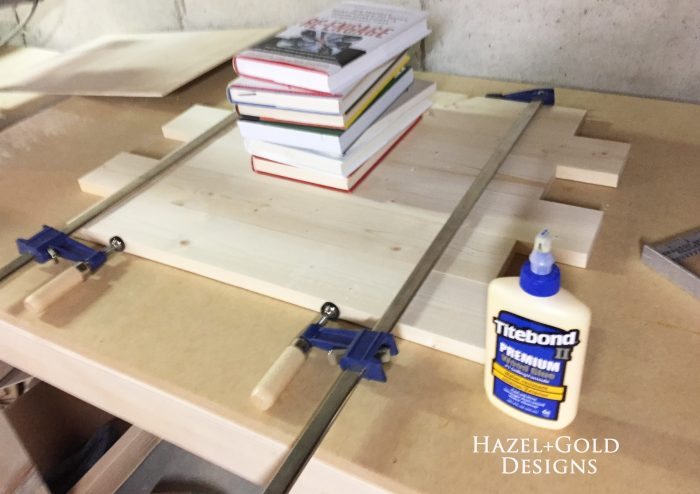 wooden cubs sign - glue and clamp