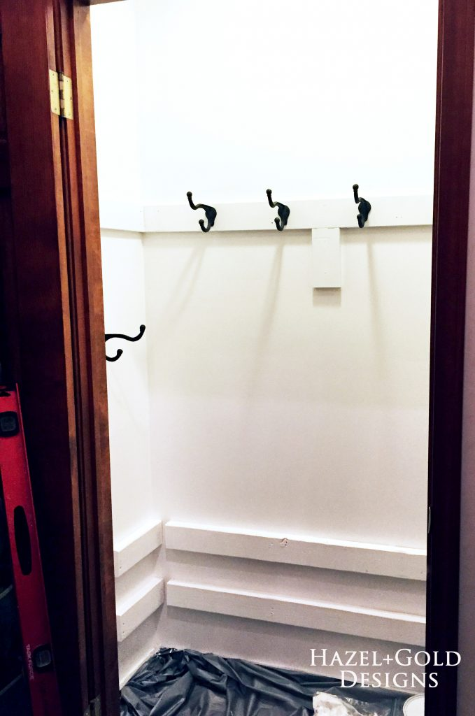 closet renovation - hooks installed
