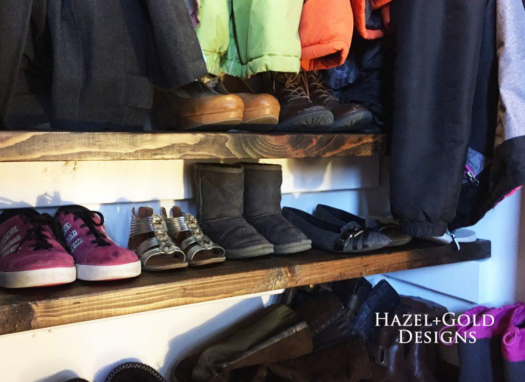 Closet renovation, finished shoe shelves
