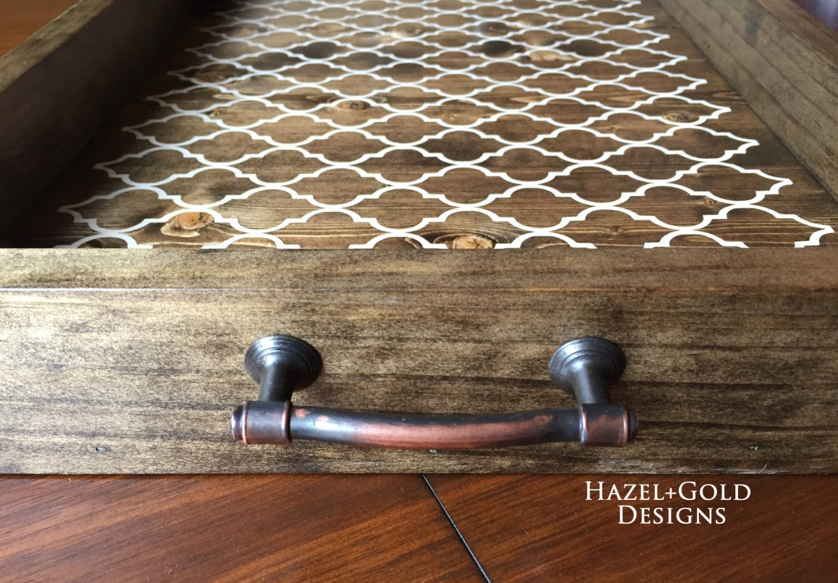 Close up image of DIY Wood serving tray