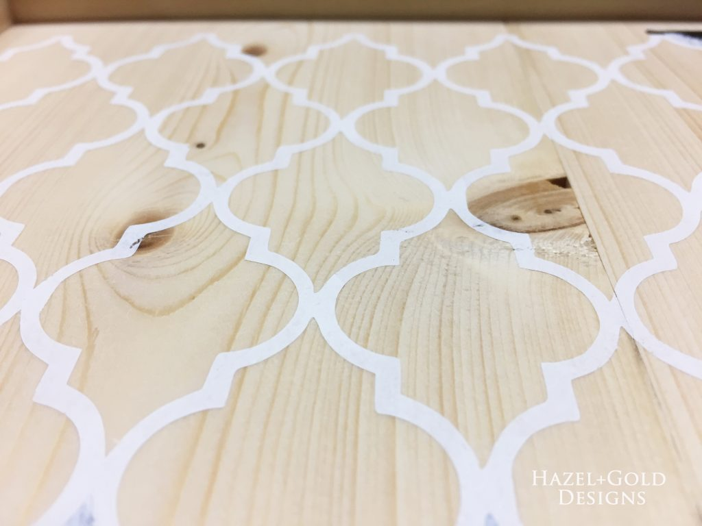 wooden serving tray - clear white stenciled paint