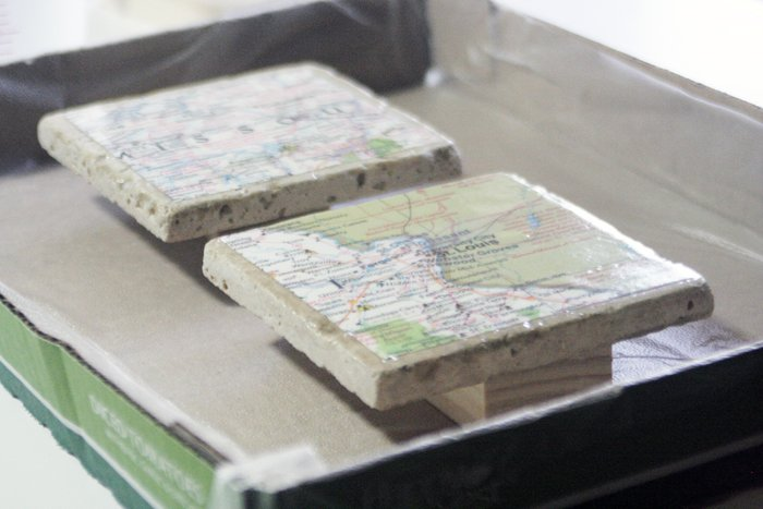 geographic tile coasters - sealed map images using ultraseal