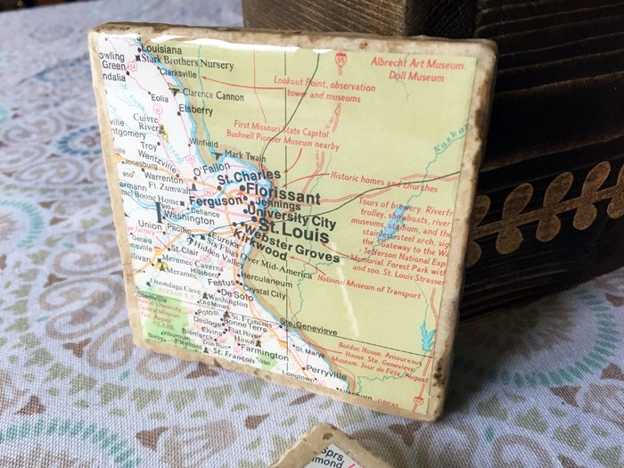 geographic tile coasters - showing reflections and glossy surface Envirotex Lite