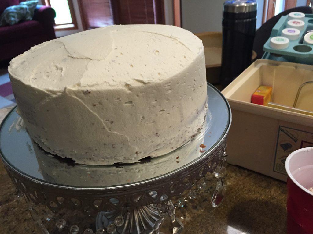 rainbow birthday cake skim coat