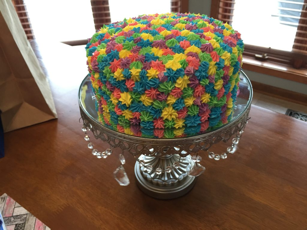 rainbow birthday cake - completed!
