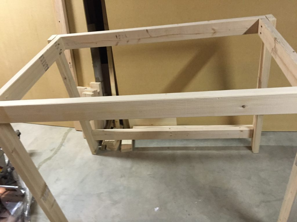 wood frame for miter saw table