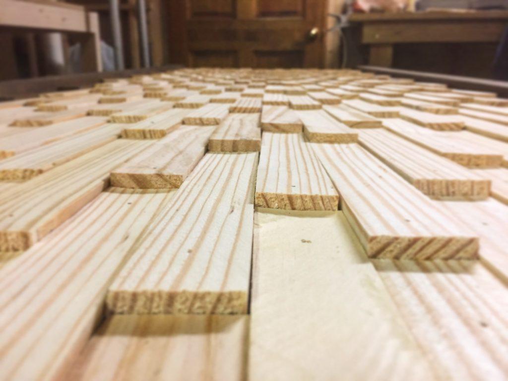 wood shim headboard closeup