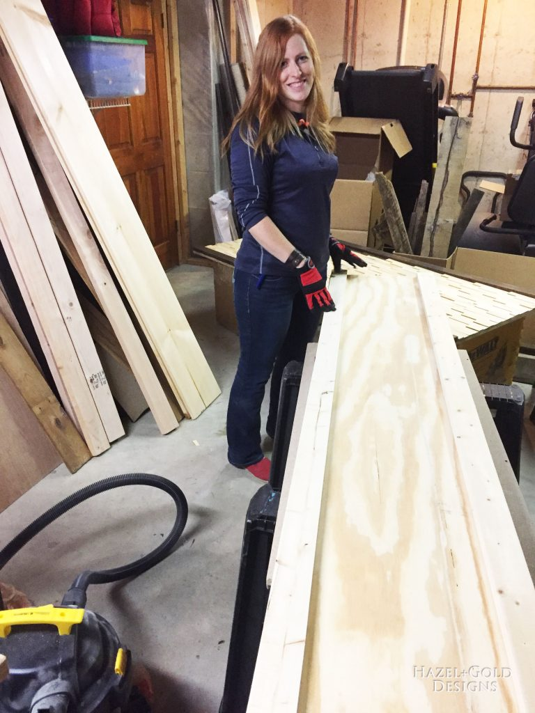 wood shim headboard workshop photo of sheri