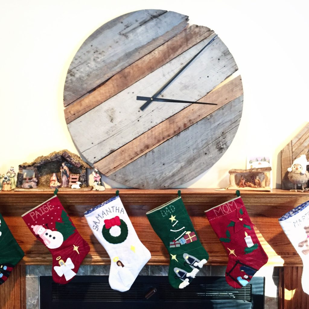 reclaimed barn wood clock on mantel
