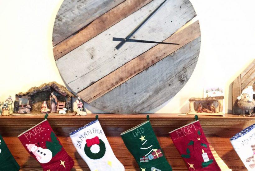 reclaimed barn wood clock on mantel