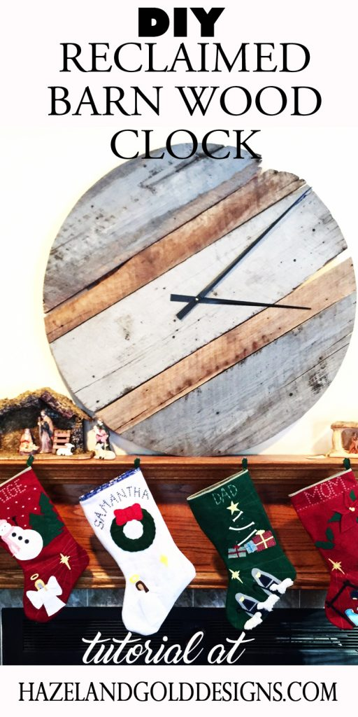 reclaimed barn wood clock pinnable image