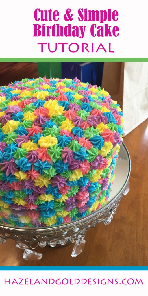 rainbow birthday cake tutorial, diy birthday cake, simple birthday cake