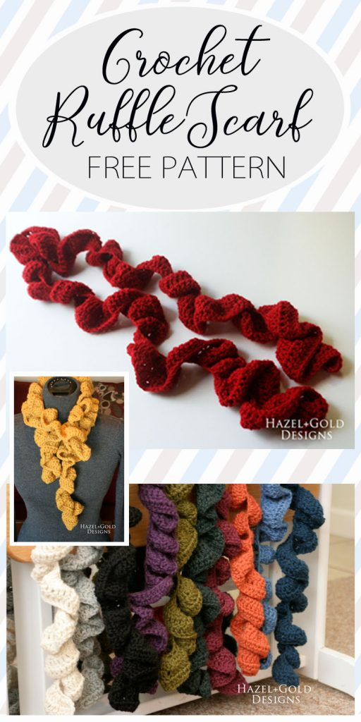 crochet ruffle scarf pinnable image