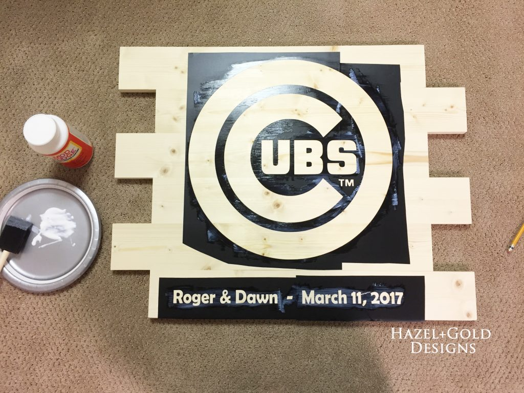 wooden cubs sign vinyl applied and decoupaged