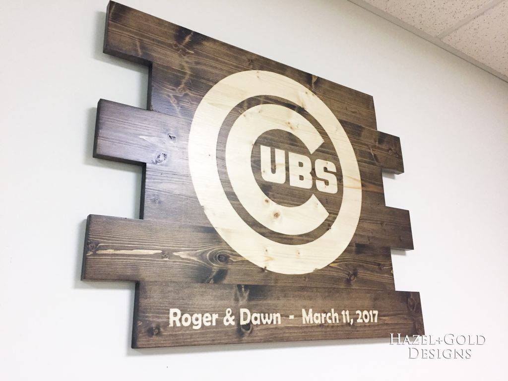 wooden cubs sign finished side angle