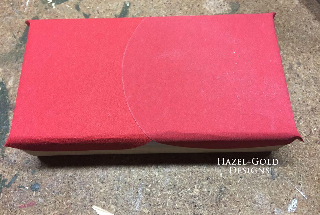 wooden heart decor, adhesive sandpaper stuck to wooden block