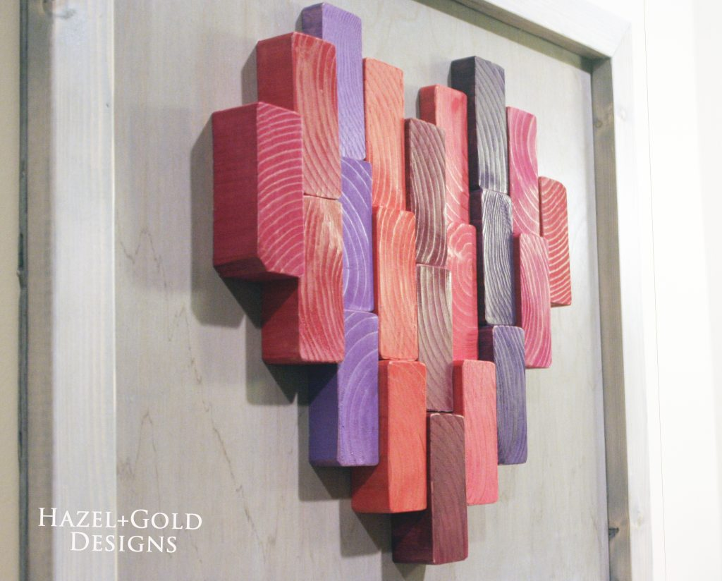 wooden heart decor finished photo closeup