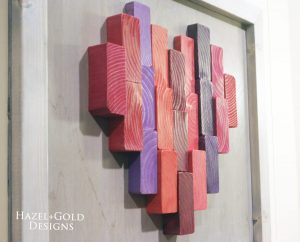 wooden heart decor end grain