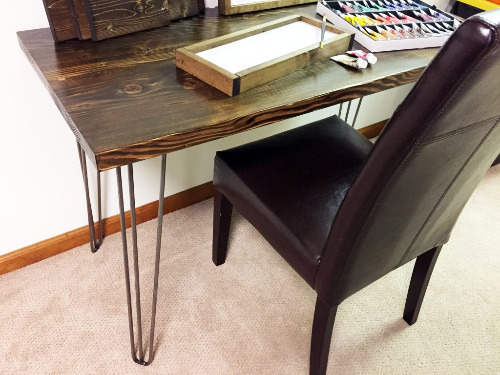 hairpin leg desk - painting desk staged