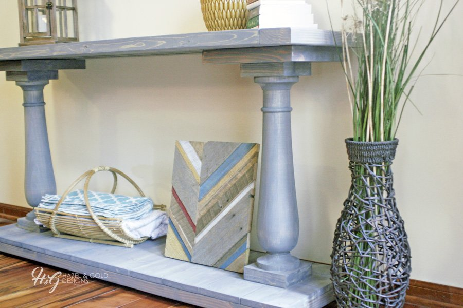 balustrade console table - finished and staged