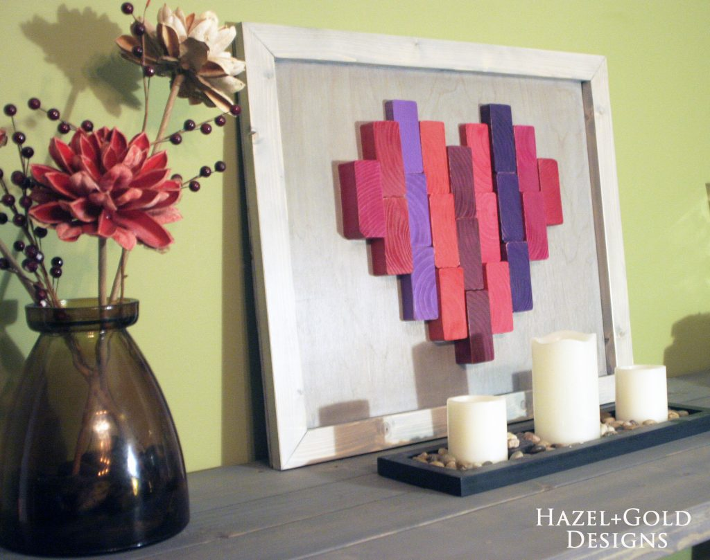 wooden heart decor finished on display