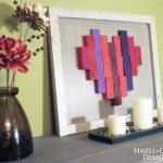 Wooden heart decor - valentines day art - end grain art