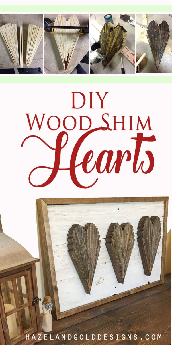 DIY Wood Shim Hearts! Check out how I made these wood shim hearts! Full tutorial and video too! #woodworking #diy #diyblogger #woodenart #woodart