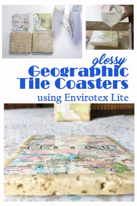 Geographic Tile Coaster using Envirotex Lite- diy coasters, resin coasters, resin projects, resin coating