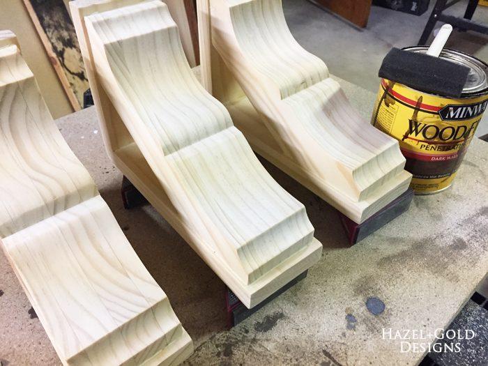 Osborne Wood Corbel Shelf - bare wood corbels, ready to stain