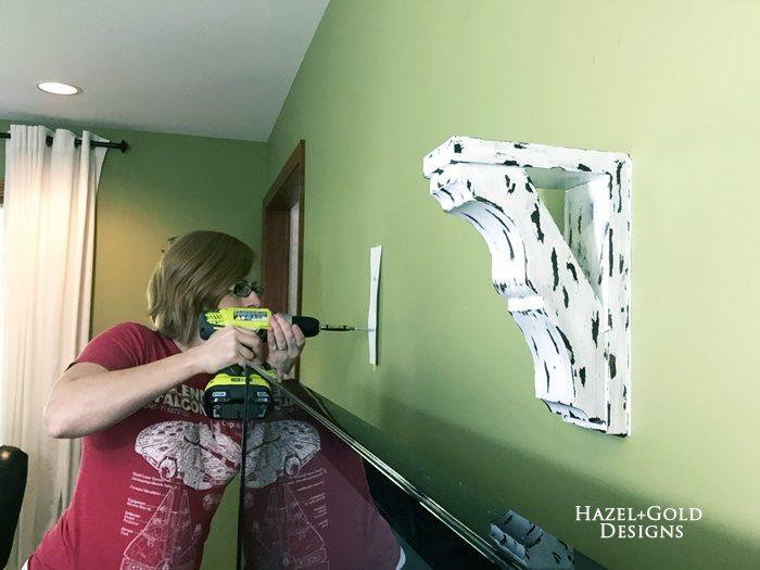 Osborne Wood Corbel Shelf - screwing into walls