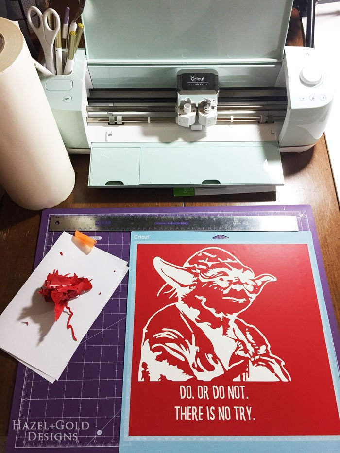 Yoda wall art - stencil cut and weeded