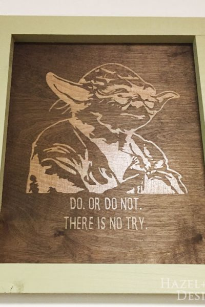 completed Yoda wall art