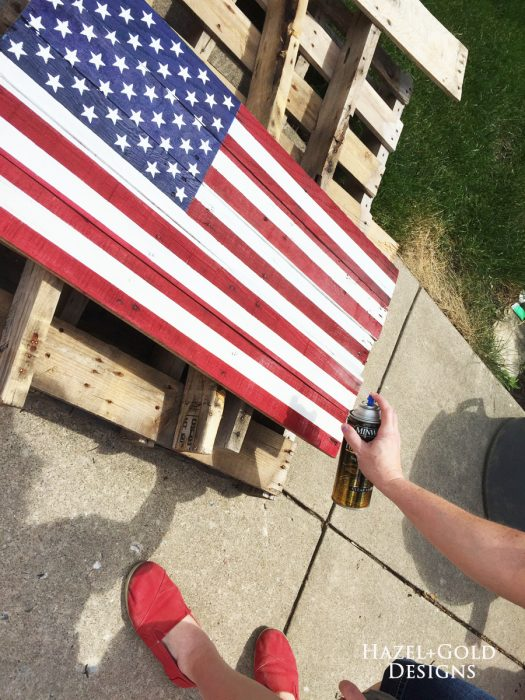 DIY Rustic Pallet Wood Flag - Coating with polyurethane spray