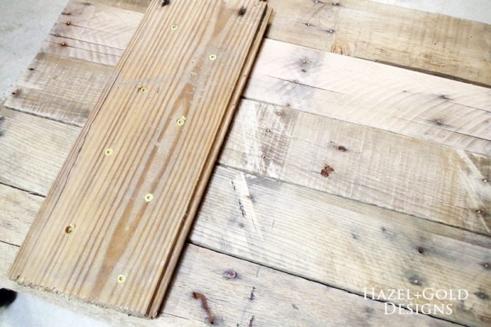 DIY Rustic Pallet Wood Flag - assembling boards on back with glue and screws