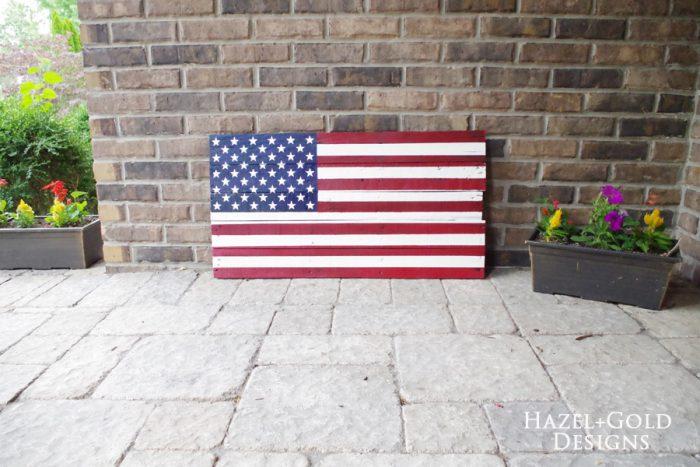 DIY Rustic Pallet Wood Flag - completed 2