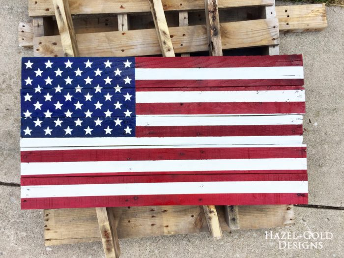 DIY Rustic Pallet Wood Flag - final coat of poly added, now complete