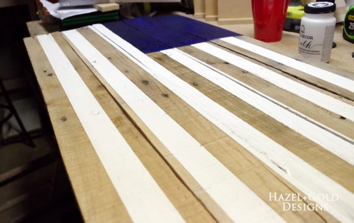 DIY Rustic Pallet Wood Flag - painted white stripes