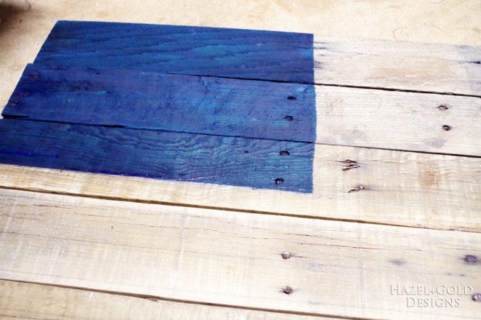 DIY Rustic Pallet Wood Flag - painting blue corner
