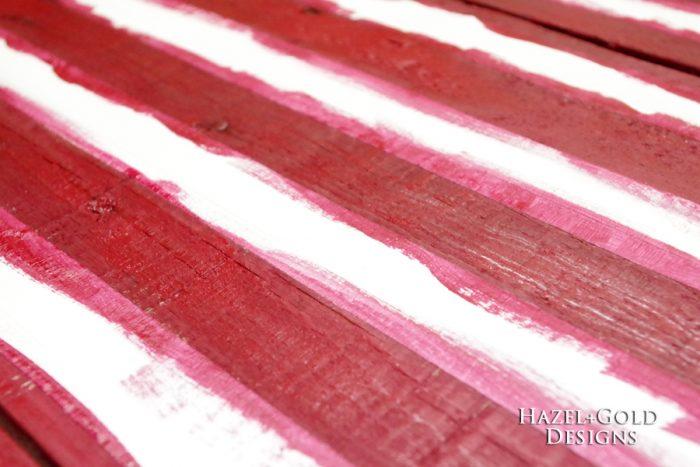 DIY Rustic Pallet Wood Flag - painting stripes