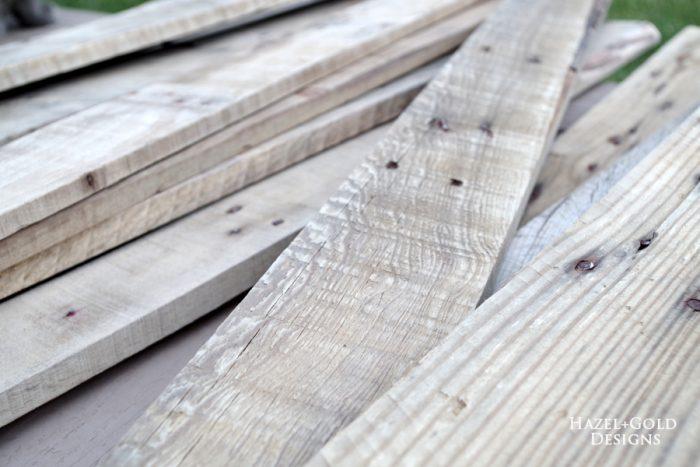 DIY Rustic Pallet Wood Flag - pallet boards sanded