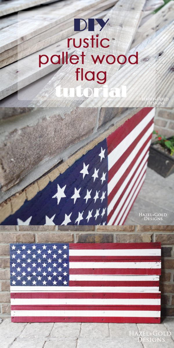 Check out how to make this awesome DIY rustic pallet wood flag using an old pallet or scrap wood and vibrant paints!